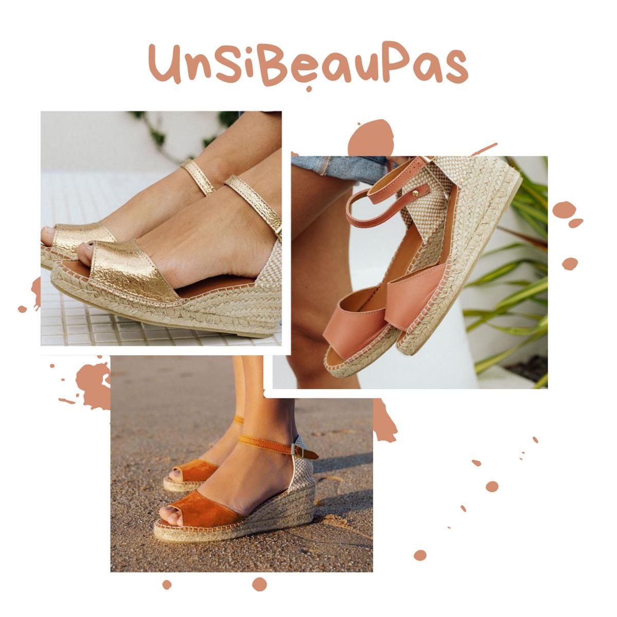 Unsibeaupas - Espadrilles - dorée - nude -terracotta - talon compensé - made in France - Mauléon - Pays Basque